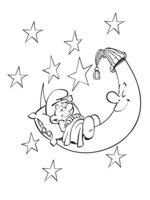 Раскраска Смурфик на Луне