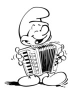 Раскраска Смурфик с аккордеоном