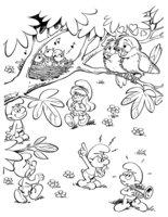 Раскраска Смурфики и птенцы