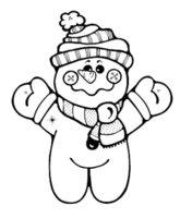 Раскраска Снеговик-малыш в шарфике и шапочке