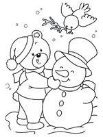 Раскраска Снеговик, мишка и птичка