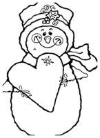 Раскраска Снеговик с открыткой-сердечком