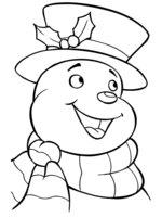 Раскраска Снеговик улыбается