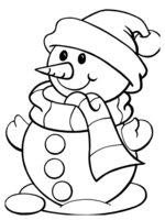 Раскраска Снеговик в новогодней шапочке