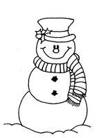 Раскраска Снеговик в полосатом шарфике