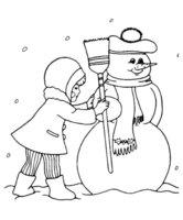 Раскраска Снеговик в шапке с помпоном