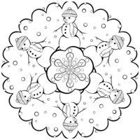Раскраска Снежинка со снеговиками