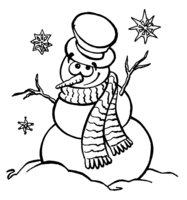 Раскраска Снежинки и Снеговик