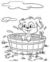 Раскраска Собачка плескается в ванночке
