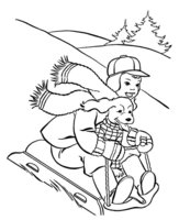 Раскраска Собака катается на санках