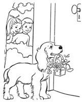 Раскраска Собака принесла подарок