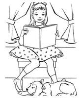 Раскраска Собака спит, пока девочка читает книгу