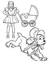 Раскраска Собака в чепчике убегает от девочки