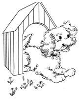 Раскраска Собака выглядывает из будки