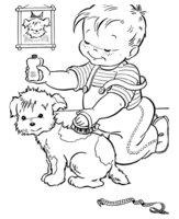 Раскраска Собаке причесывают шерстку