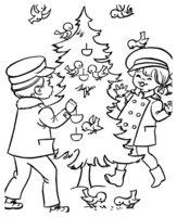Раскраска Стая птичек на елке и дети
