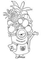 Раскраска Стюарт с фруктами
