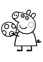 Раскраска Свинка Пеппа с мячом