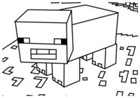Раскраска Свинья из Майнкрафт