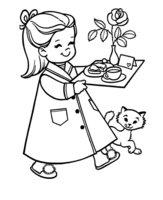 Раскраска Сюрприз маме на 8 марта