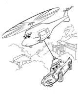 Раскраска Тачку переносят на вертолёте