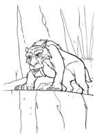 Раскраска Тигр Диего возле обрыва