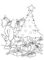 Раскраска Том и Джерри у новогодней ёлки