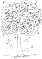 Раскраска Цветущая вишня
