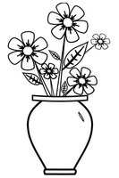 Раскраска Цветы в вазе