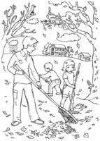 Раскраска Уборка листьев осенью