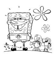 Раскраска Усмешка Губки Боба