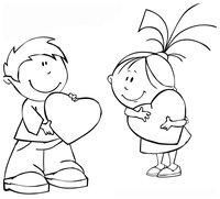 Раскраска Валентинки у мальчика и девочки
