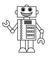 Раскраска Веселый робот