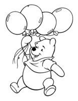 Раскраска Винни-Пух с воздушными шарами