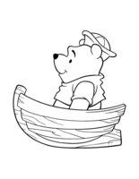 Раскраска Винни Пух в лодке