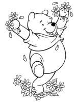 Раскраска Винни с цветами