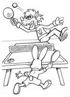 Раскраска Волк и заяц играют в теннис