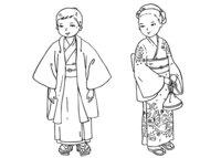 Раскраска Японские дети