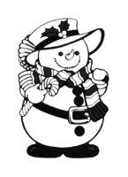 Раскраска Забавный снеговик в модной одежке