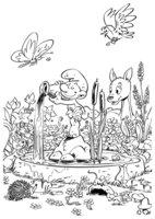 Раскраска Заколдованный лес Смурфиков