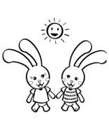 Раскраска Зайчата гуляют под солнышком