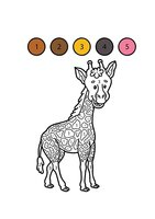 Раскраска Жираф по цифрам