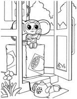 Раскраска Жизнь Чебурашки в телефонной будке