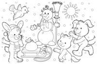 Раскраска Зима в деревне