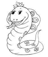Раскраска Змея в цветочек