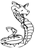 Раскраска Змея высунула язык