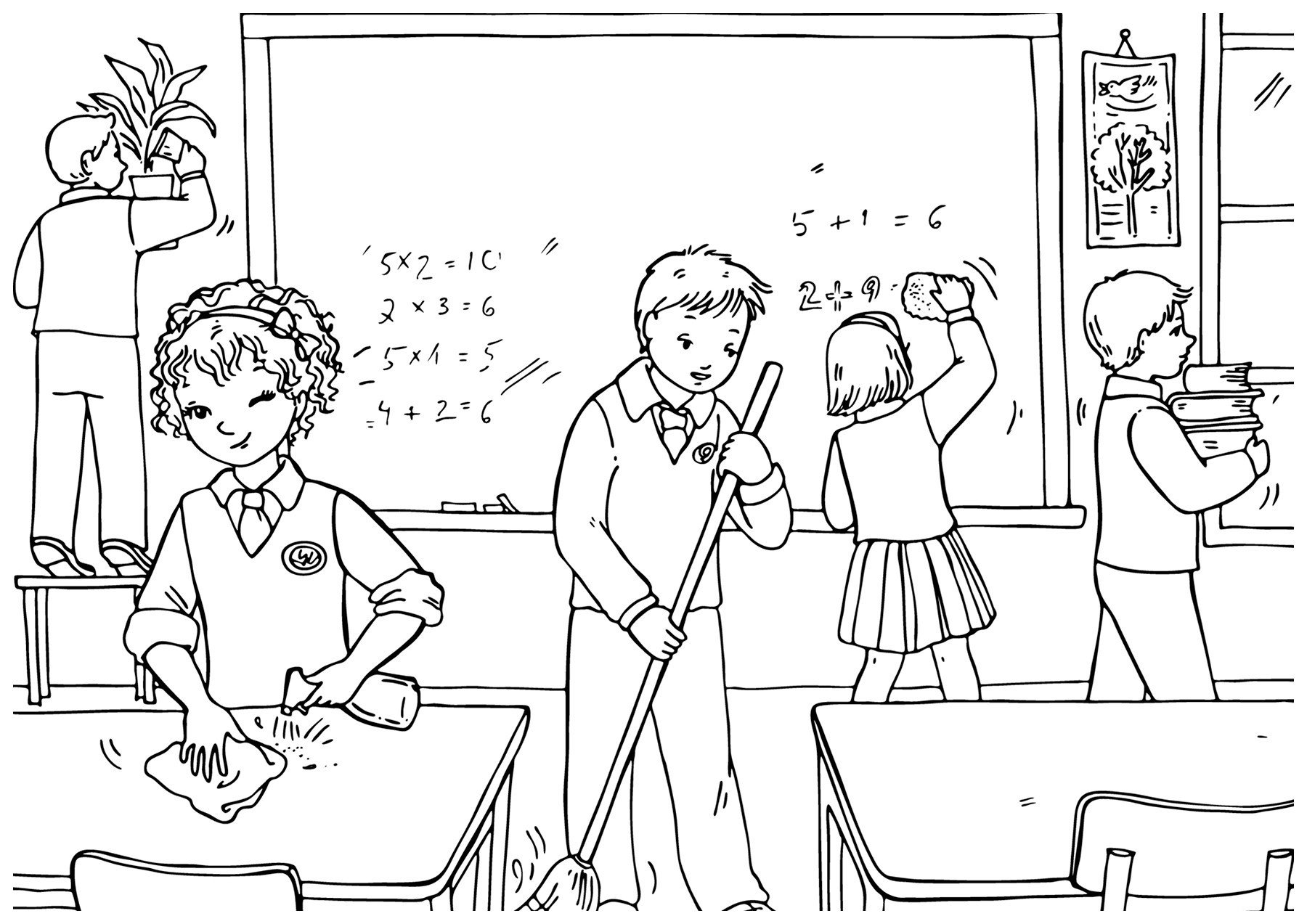 Раскраска Школьный обед - распечатать бесплатно в формате А4