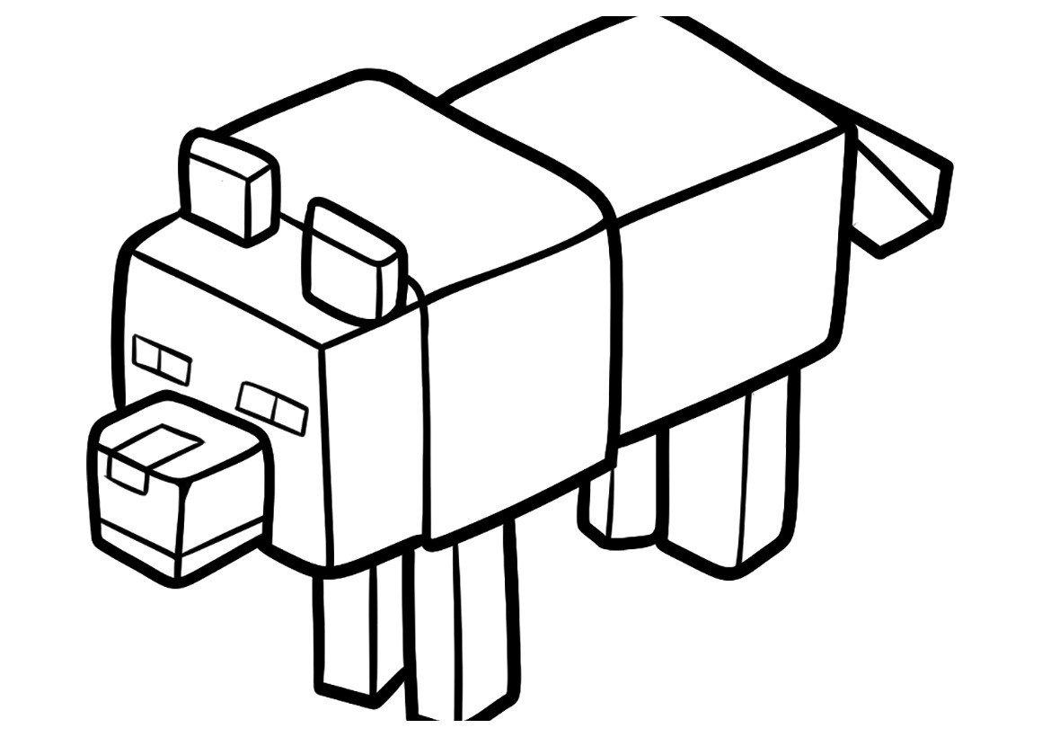Раскраска Волк из Майнкрафт