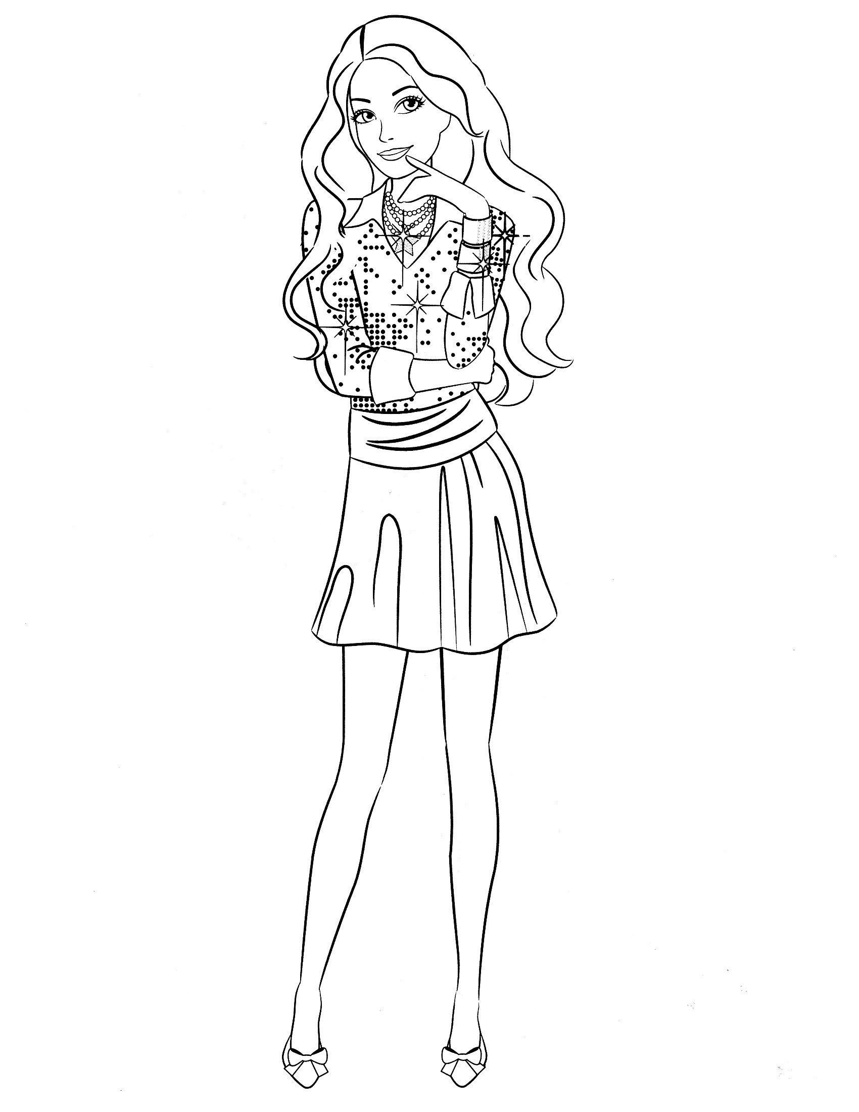 Раскраска Задумчивая Барби