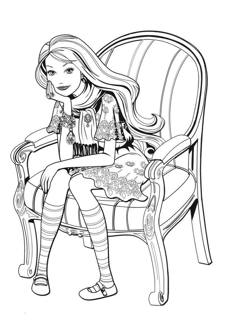 Раскраска Задумчивая Barbie в кресле